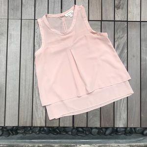 Monteau | Sleeveless blush Button Down Blouse